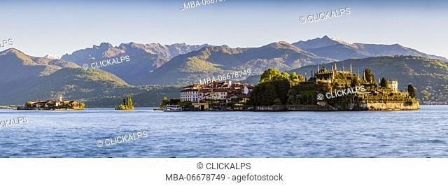Borromean Islands, Stresa, Lake Maggiore, Verbano-Cusio-Ossola, Piedmont, Italy. Panoramic view over the isles