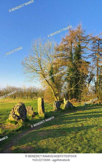 King's Men stone circle, part of the Rollright Stones, a megathlic site in north Oxfordshire, England, UK