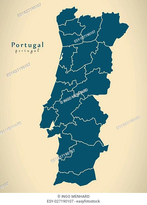Modern Map - Portugal with districts PT illustration