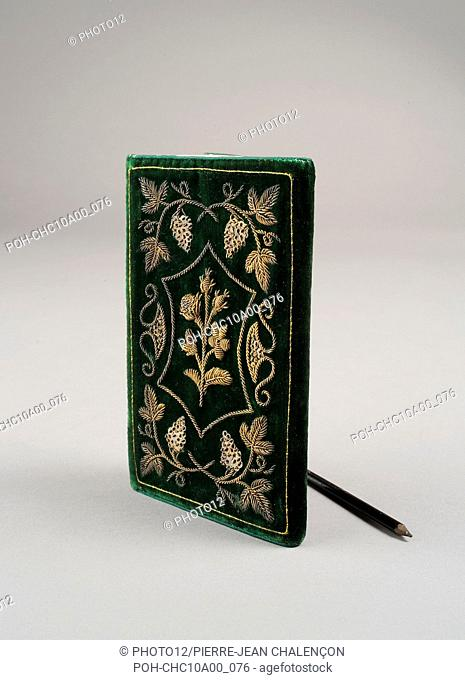 Joseph Bonaparte's personal notebook, King of Naples from 1806 to 1808.  Stitching with gilded silver pearls sewn onto green silk-velvet (14.2 x 8
