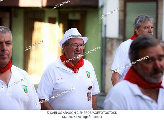 AMPUERO, SPAIN - SEPTEMBER 10: Unidentified group of people before the Bull Run on the street during festival in Ampuero, celebrated on September 10