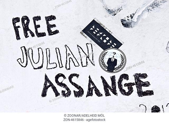 Free Julian Assange, Fassade, Berlin, Deutschland Free Julian Assange, facade, Berlin, Germany