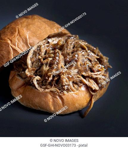 Homemade Barbeque Pulled Pork Sandwich on Bun