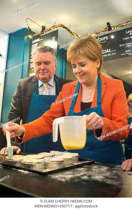 SNP Leader Nicola Sturgeon joins John Nicolson on the campaign trail in East Dunbartonshire and visits local business Table 13 Express, to make haggis pies