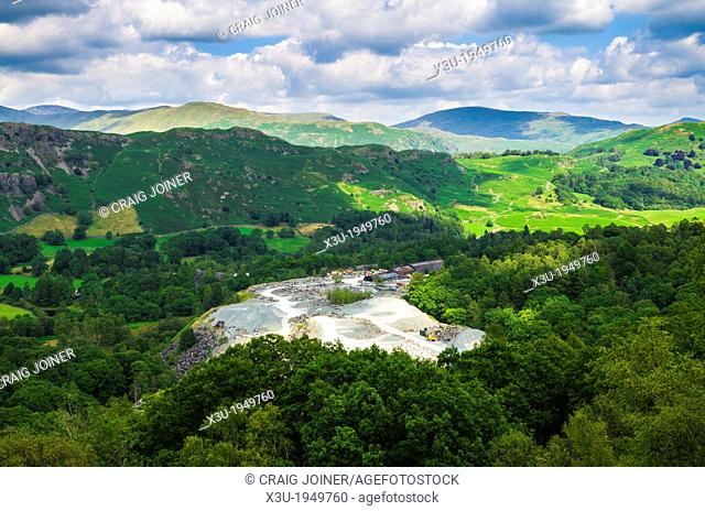 The slate quarry at Elterwater in the Lake District viewed from Lingmoor Fell, Cumbria, England
