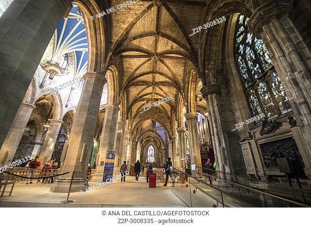 St Giles cathedral interior in Edimburgh. Scotland, UK