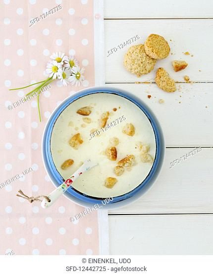 Koldskal with Kammerjunkere (A cold buttermilk dish with crispy biscuits, Denmark)