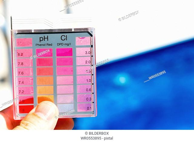 The chlorine content and pH are measured.Clean water in the pool