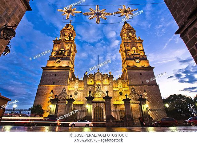 Christmas decorations, Morelia Cathedral, Catedral de Morelia, San Salvador, Baroque style, Historical Center of the city of Morelia City, Morelia