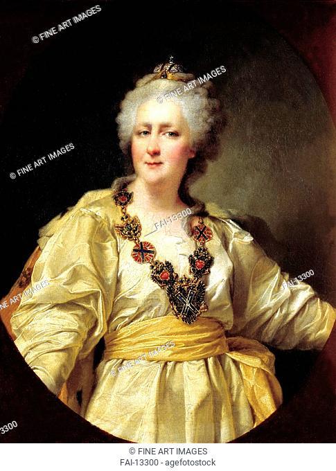 Portrait of Empress Catherine II (1729-1796). Levitsky, Dmitri Grigorievich (1735-1822). Oil on canvas. Russian Art of 18th cen. . 1794