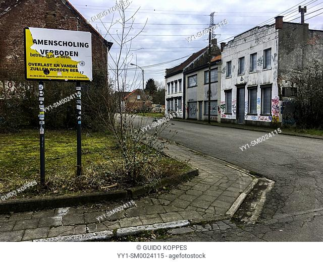 Doel, Belgium. Due to plans for a new container terminal, de village of Doel, near Antwerp, is becoming a ghost town. Village people are being bought out