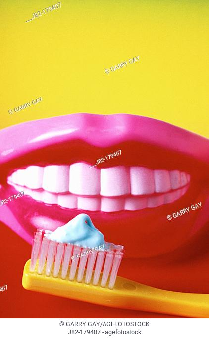 Toothbrush and teeth with toothpaste