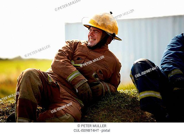 Firemen training, firemen taking a break at training facility