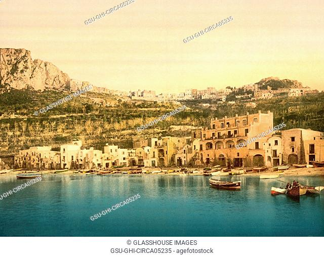 Village Harbor, Capri, Italy, Photochrome Print, Detroit Publishing Company, 1900