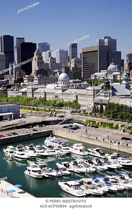Montreal skyline and the marina taken from the clock tower in the Old Port of Montreal, Quebec, Canada