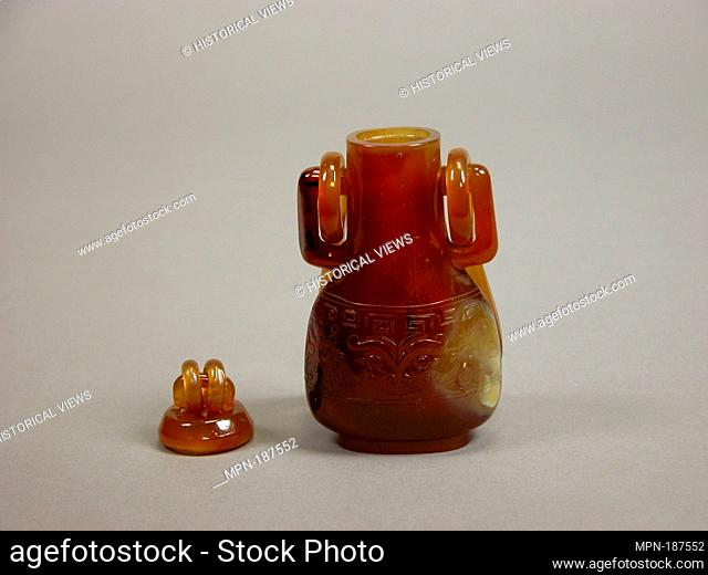 Hanging vase. Period: Qing dynasty (1644-1911); Date: 19th century; Culture: China; Medium: Agate; Dimensions: H. 5 5/8 in. (14