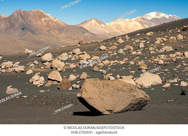 Volcanic landscape in Parinacota volcano. Sajama National Park. Oruro Department. Bolivia