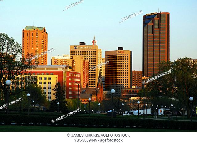 The skyline of St Paul, Minnesota catches the last light of the day