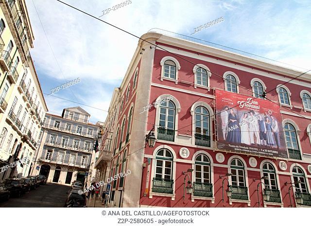 """""""""""""""""""""""Trindade"""""""" Theater historical building facade Lisbon"""