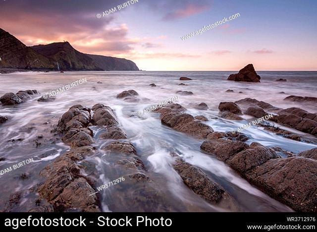 Sunset over Mouthmill Beach on the North Devon coast, Devon, England, United Kingdom, Europe