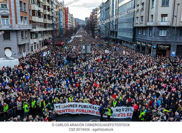 BILBAO, SPAIN - MARCH 17, 2018: Thousands of unidentified people in the protest against the small rise of 0.25% of the pensions of the Government of Mariano...
