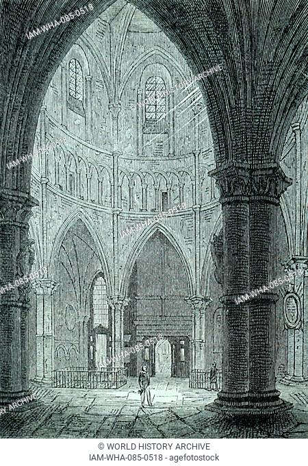 Engraving depicting the interior of Temple Church, built by the Knight's Templar as their English headquarters. Dated 12th Century