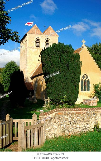 England, Buckinghamshire, Frieth, St John The Evangelist church in Frieth. Frieth lies on top of 'Frieth Hill', which is part of the chalk escarpments of the...