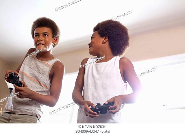 Two brothers with game controllers standing in living room