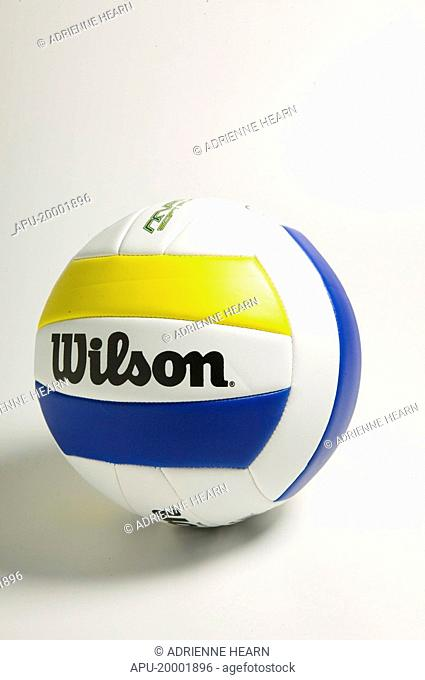 White volleyball with blue and yellow stripes