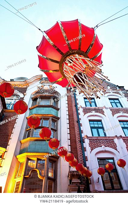 Chinese New Year decorations in Wardour Street, Chinatown, Soho, London, WC2, UK