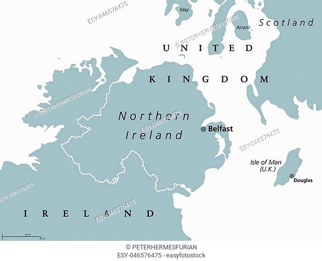 Northern Ireland political map with capital Belfast. Country of the United Kingdom in the northeast of the island of Ireland