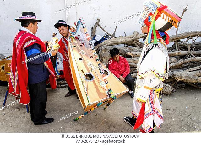 Scissors dancers Danzantes de Tijeras . Intangible cultural heritage by UNESCO. Peru