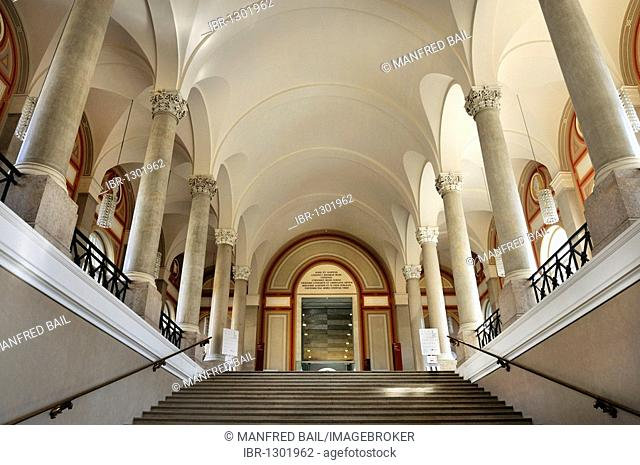 Bavarian State Library, stairs leading to the first floor, ceiling vault with Corinthian columns, Munich, Bavaria, Germany, Europe