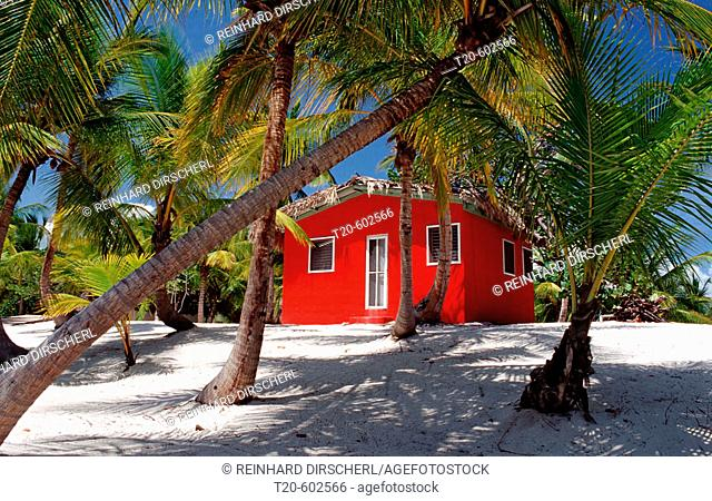Colorful chalet on the beach, Catalina Island, Caribbean, Dominican Republic