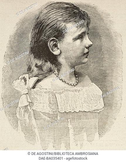 Portrait of Wilhelmina, Queen of the Netherlands (1880-1962), illustration from Il Secolo Illustrato della Domenica, Year II, No 61, November 30, 1890