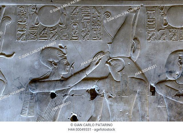 Abydos, Egypt, the mortuary temple of pharaoh Seti I, Menmaatra, (XIX° dyn. 1321-1186 B.C.) - the king bless the god Horus