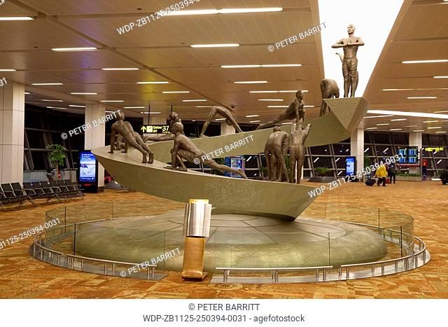 Surya Namaskar Sculpture, Indira Gandhi International Airport, New Delhi, India, Asia