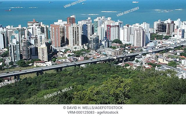 Residential structures and city skyline at Vitoria, Espirito Santo, Brazil