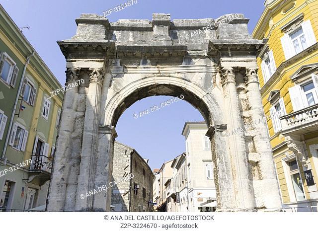 Triumphal Arch of Sergius in Pula in Istria Croatia