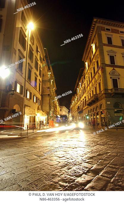 Night street in Rome. Lazio, Italy