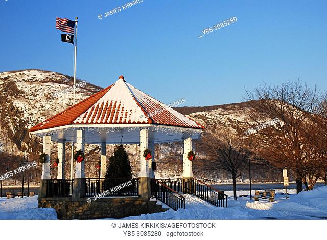 A gazebo is decorated for Christmas during winter in Cold Spring, New York