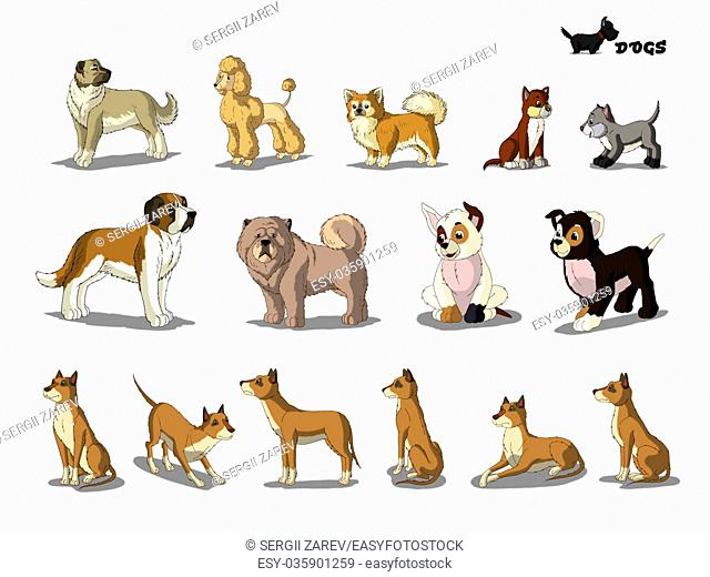 Set of Dogs separate images. Digital painting full color cartoon style illustration isolated on white background