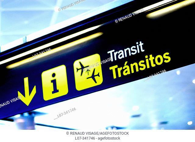 Transit sign at Barajas Airport. Madrid. Spain