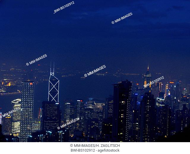 Central District by night with the International Finance Centre and the Bank of China Tower, China, Hong Kong