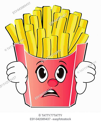sad face of french fries show gesture bad