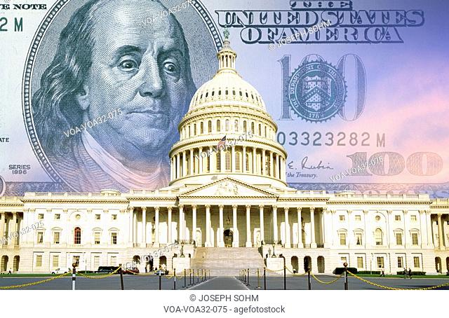 Digital composite: U.S. Capitol with One hundred dollar bill