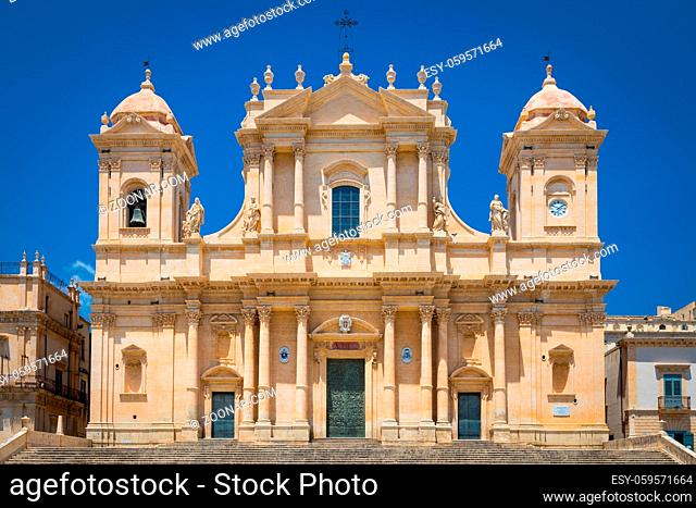 The most important baroque cathedral of Sicily, San Nicolò, Unesco Heritage site, sunny day