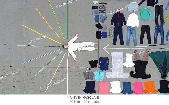 Knolling of teenage boy and clothing wardrobe