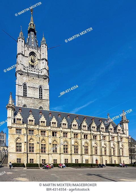 Belfry with cloth hall at Sint-Baafsplein, Ghent, Flanders, Belgium