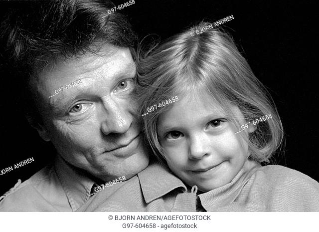 Father and daughter close-up portrait